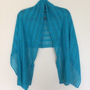 Turquoise blue, knitted lace Scarf/Shawl